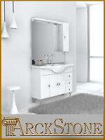 ARCKSTONE Mobile Arredo da Bagno Legno Specchio Bianco Classico Gemma 85 e 105cm
