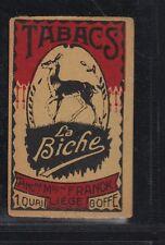 Ancienne étiquette allumettes Belgique Tabac La Biche