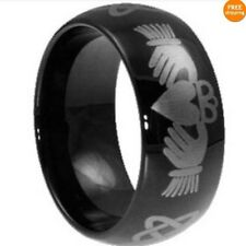 8MM Black Claddagh Celtic Stainless Steel Ring Band SZ 7-15 Irish Jewelry Heart