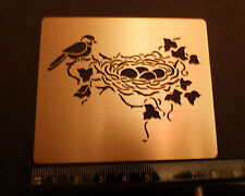 Brass/stencil/Oblong/Leaf/Nest/Nesting/Bird/Eggs/emboss