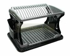 Plastic Dish Drainer Black 2 Layer Rack Stainless Steel Utensil Cutlery Draining
