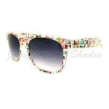 Text Print Sunglasses Classic 80's Old School Frame