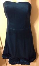New Retro PinUp Romeo & Juliet Couture Teal Sweetheart Dress W Rosettes/Pockts S