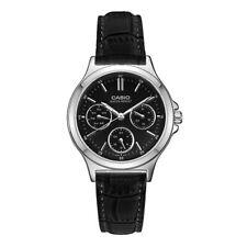 2b32b9a4e7c3 Nuevo Casio LTP-V300L-1A reloj de cuero genuino esfera negra multifunción