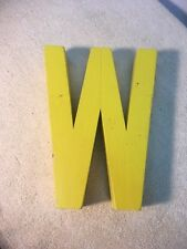 Letter W M Big Vtg Wood Block Type Italic Font 7in X 55in X 15in Yellow