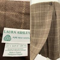 Vintage Laura Ashley Size 14 (uk) Pure New Wool Brown Wrap Check Skirt