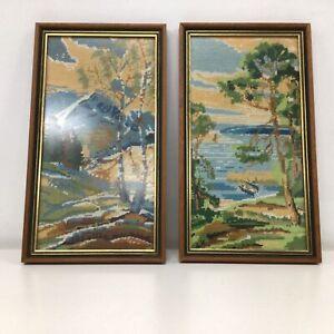 2 Wooden Rectangle Framed Cross Stitch Landscapes Dakja Originals Ivanhoe #209