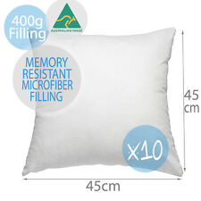 10x Aus Made Memory Resistant Microfiber Polyester Cushion Insert Pillow 45x45cm