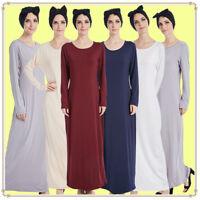 New Women Abaya Jilbab Ladies Plain Color Stretch Long Sleeve Maxi Jersey Dress