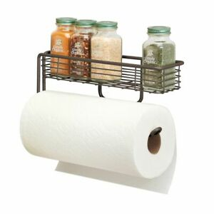 mDesign Wall Mount Metal Paper Towel Holder with Storage Shelf - Bronze
