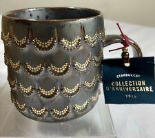 Starbucks Anniversary 2015 Mug Coffee Cup Mermaid 3D Gold Scales *NEW *fast ship
