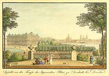 DRESDEN - GESAMTANSICHT & JAPANISCHES PALAIS - Richter - kolor. Radierung 1820