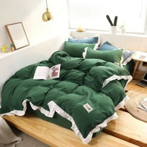 Thicken Bedding Sets Brown Bed Set 4pcs Duvet Cover  Fitted Sheet Bedclothes