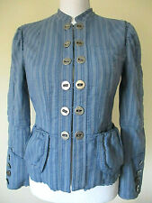 MARC JACOBS Blue Striped Renaissance Jacket $595! Size Small Cotton Ruffled Edge