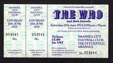 The Who - June 12, 1976 - FULL UNUSED ticket - Swansea, Wales