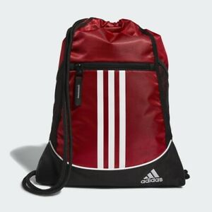 Adidas Alliance II Sackpack Bag Red Black White Zipper Pockets String Backpack