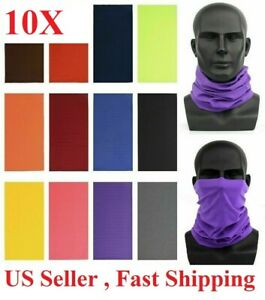 10x Face Mask Sun Shield Neck Gaiter Bike Balaclava Neckerchief Bandana Headband