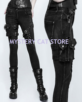 New PUNK RAVE Heavy Metal Rock Gothic Black Ladies pants + Pouch K295 FAST POST