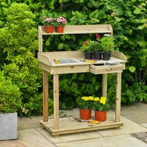 Garden Potting Table Bench Outdoor Wooden Workstation Table