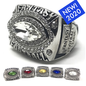 NEW 2020 Fantasy Football Championship Ring SZ 9-14 Football Shaped Stone COLORS