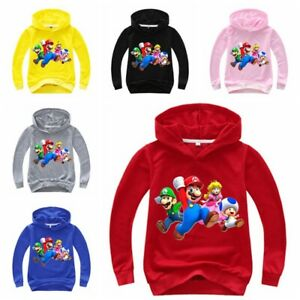Super Mario Mädchen Jungen Kinder Langarm T-shirt Hoodie Kapuzenpullover Pullis