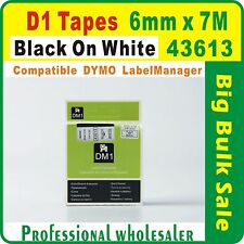 Dymo D1 6 mm x 7m Black on White 43613 Compatible Label Tape