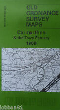 OLD ORDNANCE SURVEY MAP CARMARTHEN & TOWY ESTUARY & PLAN CARMARTHEN 1909 S 229