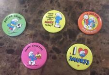 Smurf Lot 3a - 5 Pinback Button Pin - Peyo 1980 & 1982 - Vintage
