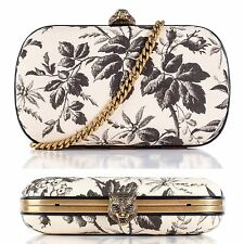 NWT Gucci Ivory & Black Broadway Floral Herbarium Linen Clutch Tiger Head Motif