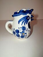 Blue And White Floral Design Ceramic Rooster Creamer with Handle