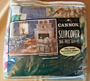 Cannon Two-Piece Loveseat or Sofa Slipcover Stockwell Copen Blue Easy Fit NIP