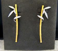 Carrera y Carrera Bambú  Two Tone 18K Gold Zen Earrings Pave Diamonds DA10483
