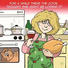 Merry Christmas Card with Cook &Losing It -Funny Christmas Card -Xmas Card -Cat