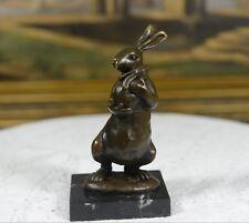 Signed: Milo,Bronze Sculpture Rabbit Mother w/ baby bunny warm hug bronze statue