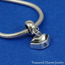 .925 Sterling Silver NURSE HAT CAP Dangle Bead CHARM fits EUROPEAN Bracelet *NEW