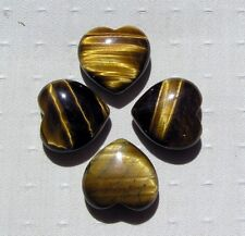 Gold Tiger Eye Solid Gemstone Puffy Heart - 24mm (One Only) - Free UK Postage