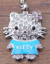 ღƸ̵̡Ӝ̵̨̄Ʒღ Hello Kitty Kette mit XXL Kitty Anhänger Strass weiß blau Steine NEU