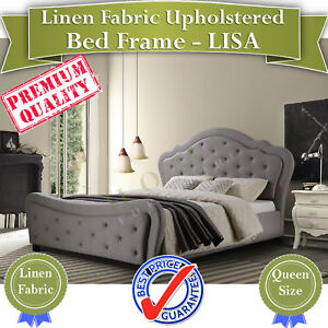 SOLD OUT PRICE Queen & King size Upholstered Grey Linen Fabric bed Frame LISA