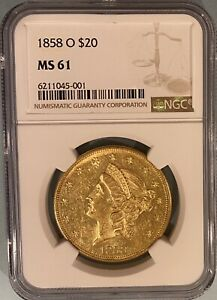 1858-O $20 LIBERTY GOLD DOUBLE EAGLE NGC MS61 — REGISTRY; FRESH TO THE MARKET!!