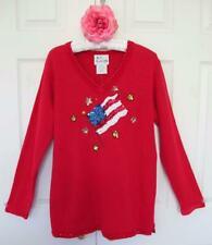 NWT Quacker Factory American Flag Embellished Sweater M July 4 Red Wht Blue QVC