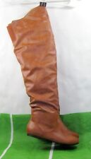 NEW LADIES  Womens TAN  Flat round toe Over Knee Sexy  Boots Size 9