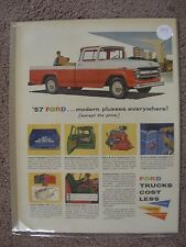 1957 FORD PICKUP TRUCK LARGE FULL PAGE COLOR AD
