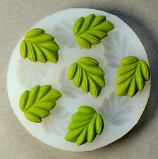 SET OF LEAVES SILICONE FLEXIBLE PUSH MOLD POLYMER CLAY FIMO MOULD BAKEABLE