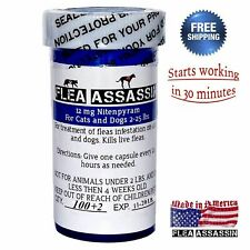 100 Capsules Rapid Control Flea Killer for Dogs and Cats 2-25 lbs
