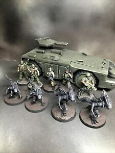 Papsikels Aliens vs Humans Squad - 3D Printed/painted Miniatures X9 And Vehicle