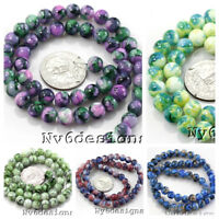 """Round Porcelain Ceramic Color Loose Spacer Beads 8-14mm 15"""" Free Ship Wholesale"""