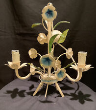 VINTAGE FRENCH TOLEWARE FLOWER CHANDELIER CEILING LIGHT CHATEAU SHABBY LAMP CHIC