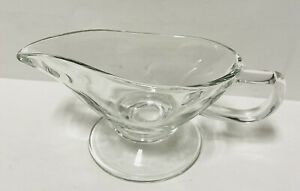 Clear Glass Gravy Boat Bowl Footed Sauce Dish Pourer Spout Handle 8 oz Vintage