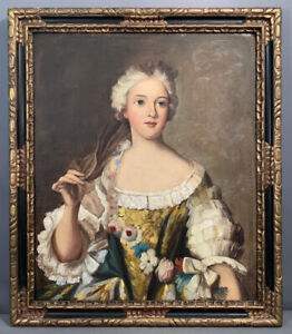 Antique 18thc Style LADY PORTRAIT Old VICTORIAN ESTATE Oil PAINTING Wood FRAME