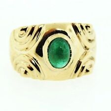 Cabochon Emerald  Ring 14ky Gold Size 6.25